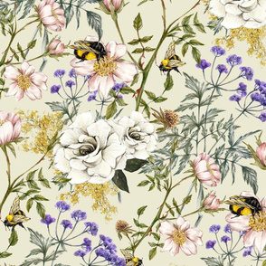 English Garden (Cream) - Large Scale