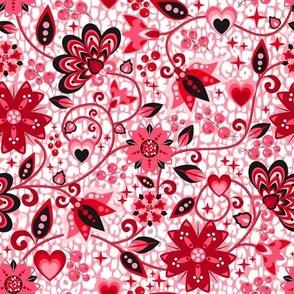 Jacobean Valentine Roses Pink Medium scale