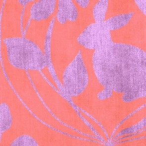 Spring is in the Air Damask Pink and Lavender Large Scale