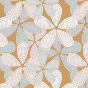 Abstract lilly flower hawaii inspired blossom summer design cinnamon gray neutral