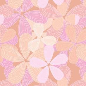 Abstract lilly flower hawaii inspired blossom summer design cinnamon pink peach blush girls