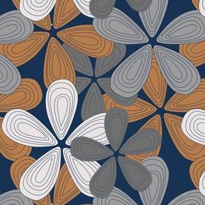 Abstract lilly flower hawaii inspired blossom summer design cinnamon gray navy blue neutral boys
