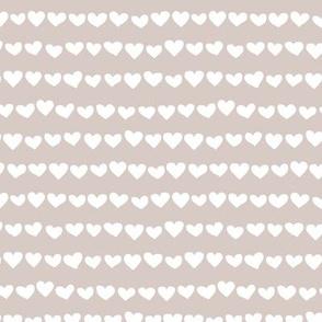 Rows of hearts minimalist boho fvalentine's Day love design latte beige white
