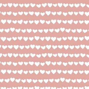Rows of hearts minimalist boho fvalentine's Day love design rose pink white