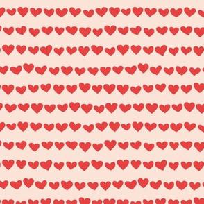 Rows of hearts minimalist boho valentine's Day love design cream red