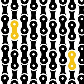 Bike Chain Pattern Blk Yellow