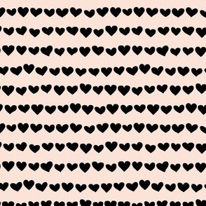 Rows of hearts minimalist boho valentine's Day love design cream off white black