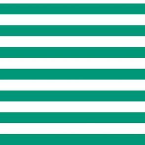 Emerald Awning Stripe Pattern Horizontal in White