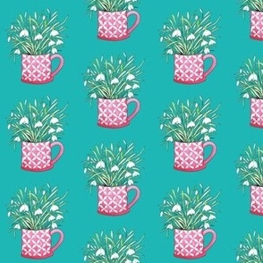 snowdrops // spring flowers in a pink mug