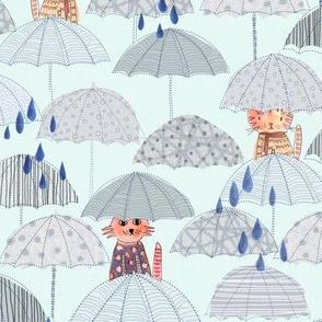 cats with umbrella and rain drops