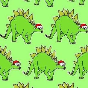 Cute Christmas Stegosaurus - on green