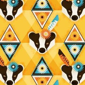 Badger of courage - boho spirit animal guide (golden yellow)