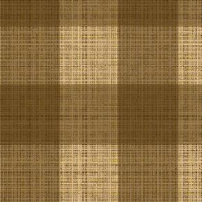 lg- Check brown on tan  burlap
