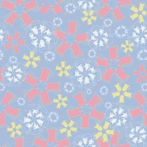 flowery pottery pastel blue and coral