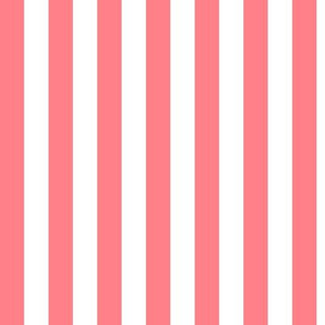 Shell Pink Awning Stripe Pattern Vertical in White