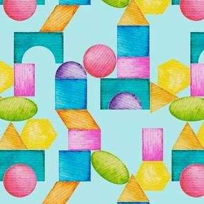 rainbow  building blocks- teal