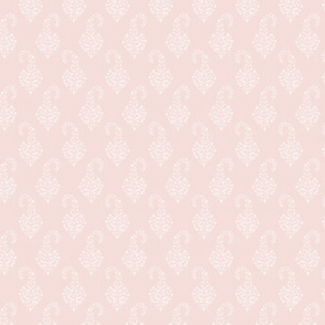 WOVEN Painted Paisley PALE PINK AND WHITE