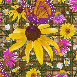 xl- Pat's wildflowers on brown weave