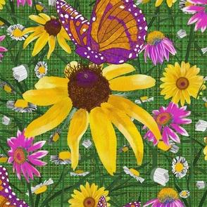 xl-Pat's wildflowers on green weave
