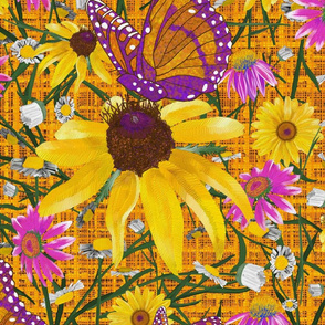 xl-Pat's wildflowers on orange weave