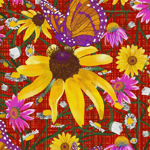 xl-Pat's wildflowers on red weave