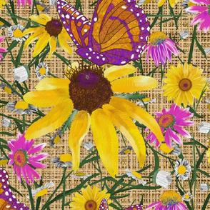 xl-Pat's wildflowers on tan burlap weave
