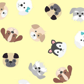 Dog Faces Seamless Pattern on Yellow