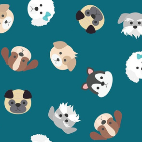 Dog Faces Seamless Pattern on Blue