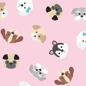 Dog Faces Seamless Pattern on Pink