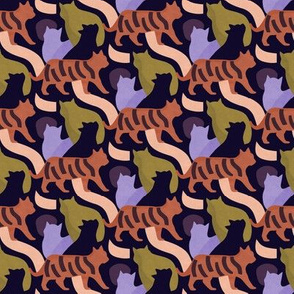 Mod Cats in Purple Green and Orange