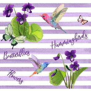 Violets Floral Hummingbirds Butterflies