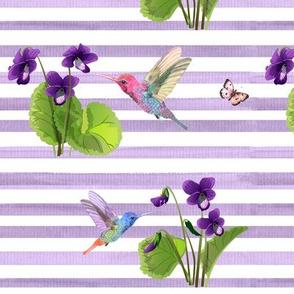 Violet Floral Hummingbirds Butterflies II