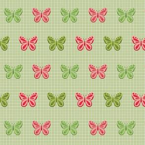Butterflies on Sage & Moss Gingham