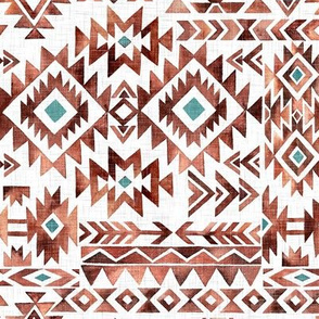 Tribal Kilim / Small Scale / White Linen Textured Background