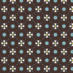 stars foulard blue on brown medium