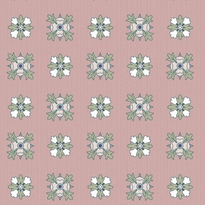 geometric rosette foulard on grayish pink large