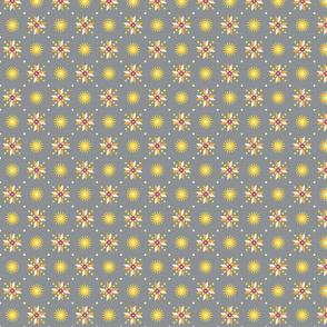 stars foulard yellow on gray small