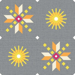 stars foulard yellow on gray large