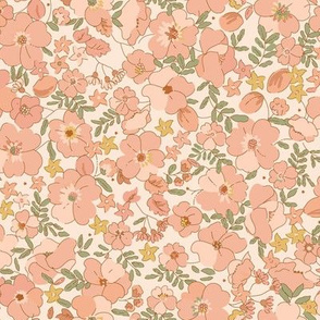 FloralIllustrated 70s- pink folk