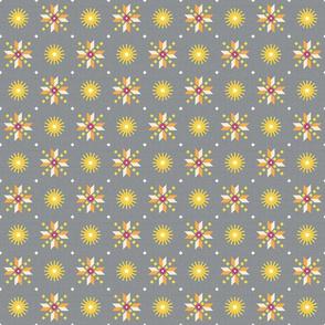 stars foulard yellow on gray medium