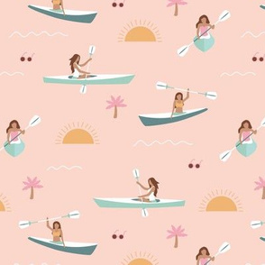 Sunshine day girls canoe trip tropical kayaking adventures island waves summer vibes print beige pink blue