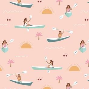 Sunshine day girls canoe trip tropical kayaking adventures island waves summer vibes print beige pink blue