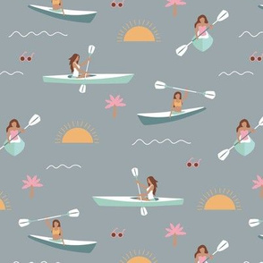 Sunshine day girls canoe trip tropical kayaking adventures island waves summer vibes print gray pink yellow