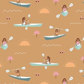 Sunshine day girls canoe trip tropical kayaking adventures island waves summer vibes print cinnamon pink mint vintage