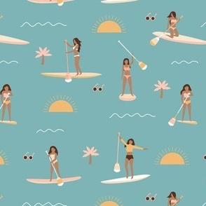 Sunshine day girls peddle boards trip tropical kayaking adventures island waves summer vibes print vintage blue yellow blush