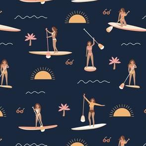 Sunshine day girls peddle boards trip tropical kayaking adventures island waves summer vibes print vintage navy blue