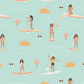 Sunshine day girls peddle boards trip tropical kayaking adventures island waves summer vibes print vintage mint yellow blush
