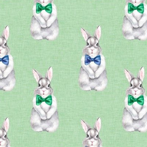 Bunny Bow Tie Linen Green