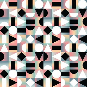 Abstract Geometric Composition Black and White Shapes on Checkered Gradients
