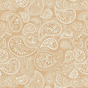 Soft boho paisley texture oriental moroccan style nursery design ginger yellow beige white
